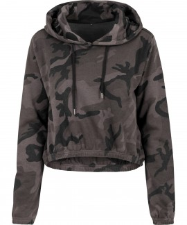 Build Your Brand-Women's camo cropped hoodie